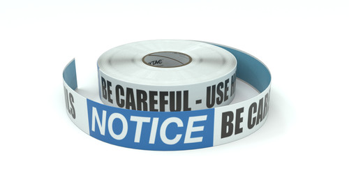 Notice: Be Careful - Use Handrails - Inline Printed Floor Marking Tape
