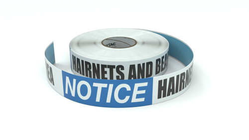 Notice: Hairnets and Beard Covers Required In This Area - Inline Printed Floor Marking Tape