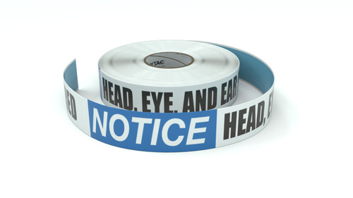 Notice: Head, Eye, And Ear Protection Required - Inline Printed Floor Marking Tape