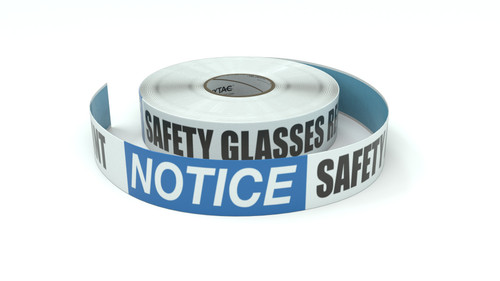 Notice: Safety Glasses Required Beyond This Point - Inline Printed Floor Marking Tape