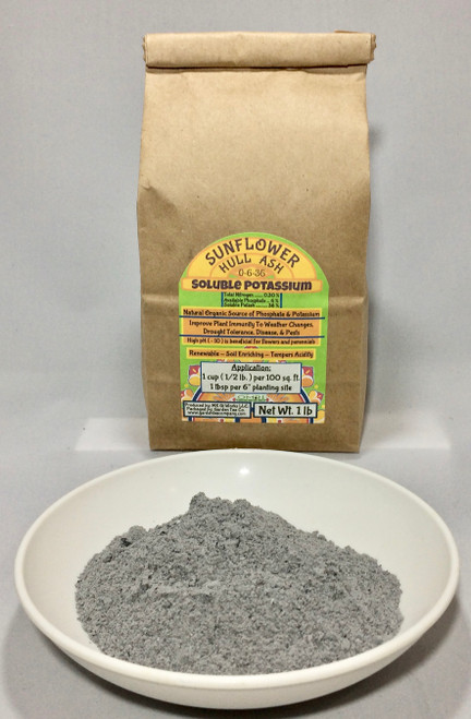 Sunflower Hull Ash helps to improve plant immunity to weather changes, drought tolerance, diseases and pests.
