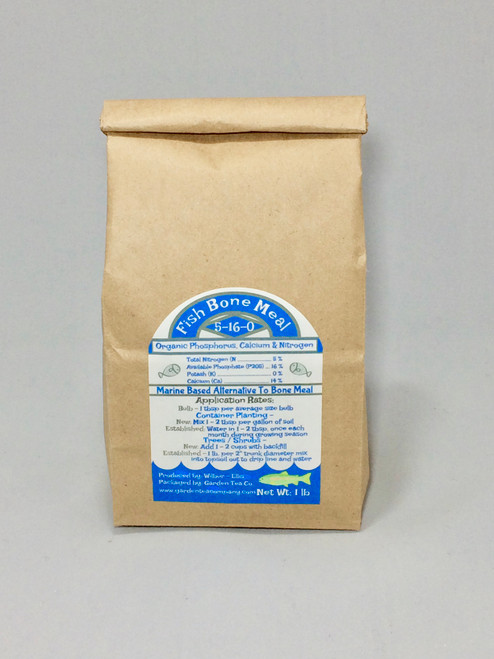 Fish Bone Meal is an excellent natural source of organic phosphorous and organic calcium with a bonus 3% water soluble nitrogen.