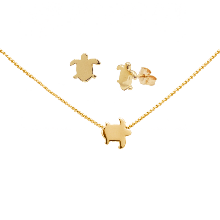 Sea turtle earrings and necklace set
