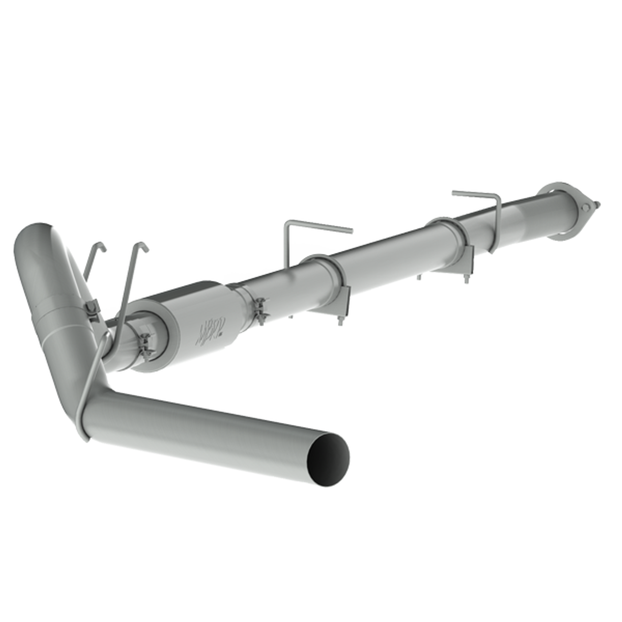 """2008-2010 Ford Powerstroke 6.4L MBRP (P1 Race Parts) 4"""" Downpipe Back Aluminized Race Exhaust With Muffler (Includes Free Tip) C6270P"""
