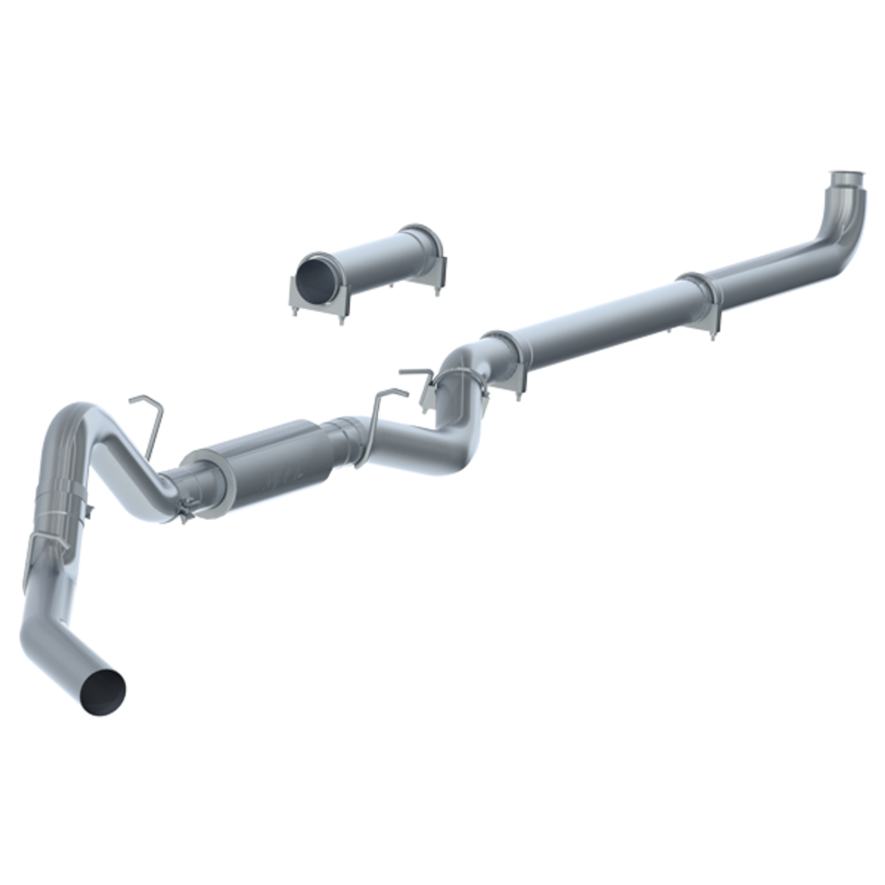 """2007-2010 GMC/Chevy 2500/3500 MBRP (P1 Race Parts) 4"""" Downpipe Back Aluminized Race Exhaust With Muffler C6004P"""