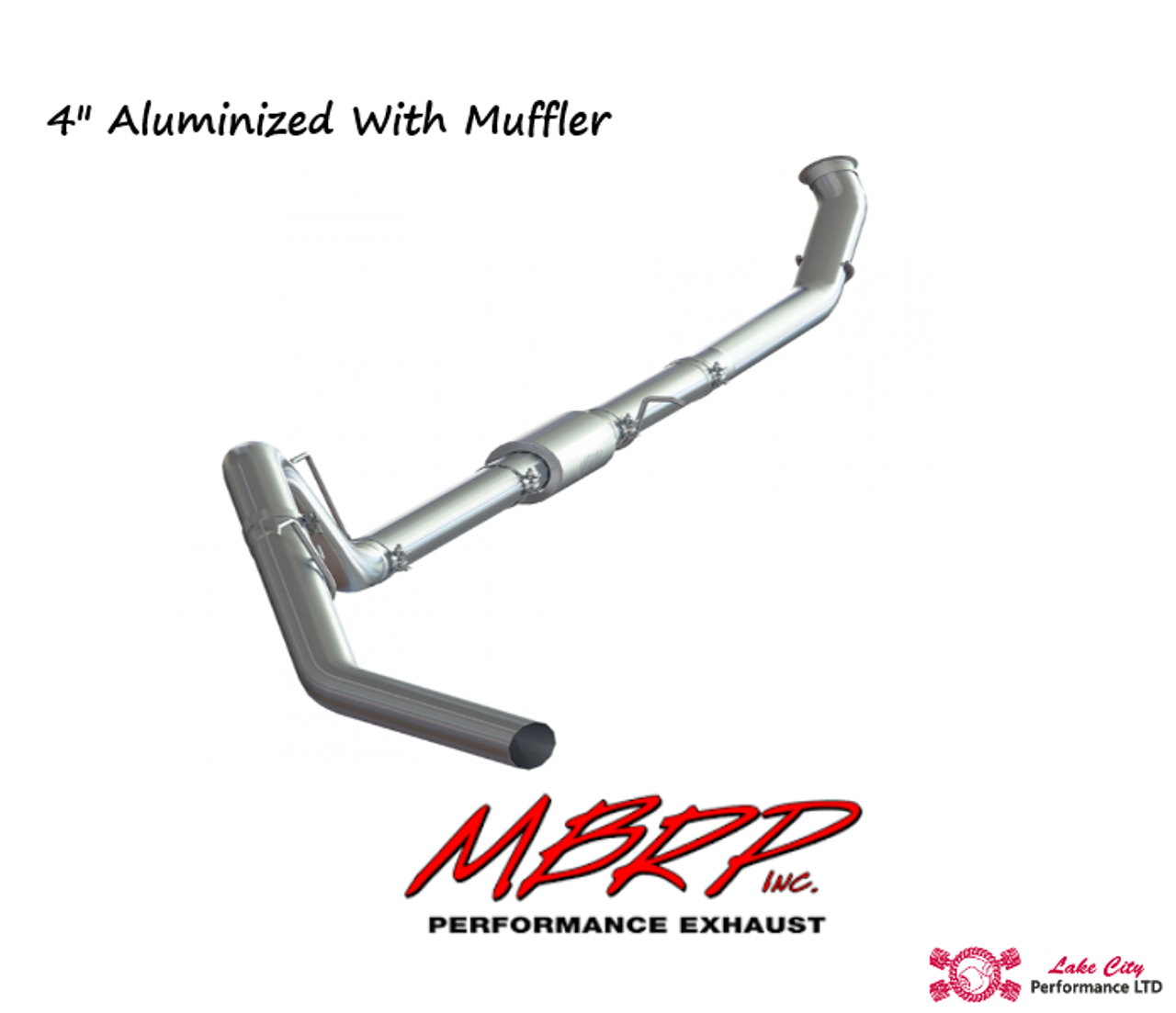 "2013-2018 Dodge Ram2500/3500 6.7L MBRP (P1 Race Parts) 4"" Turbo Back Aluminized Race Exhaust With Muffler (Includes Free Tip) C6145P"