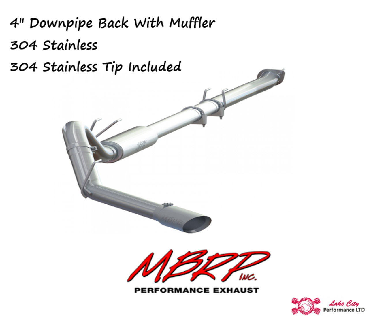 "2011-2016 Ford Powerstroke 6.7L MBRP (P1 Pro Series) 4"" Downpipe Back Stainless Race Exhaust With Muffler (Includes Free Tip) C6262304"