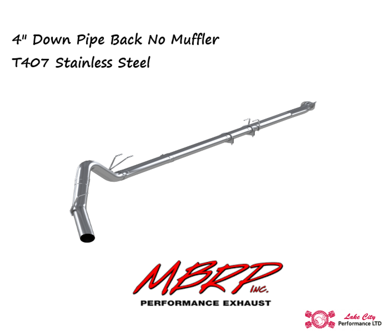 """2011-2016 Ford Powerstroke 6.7L MBRP (P1 SLM Series) 4"""" Downpipe Back Stainless Race Exhaust Without Muffler  C6262SLM"""