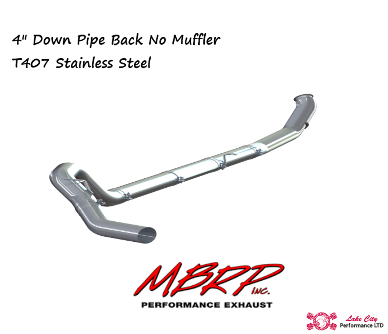 "2013-2018 Dodge Ram2500/3500 6.7L MBRP (P1 SLM Series) 4"" Turbo Back Stainless Race Exhaust Without Muffler C6145SLM"