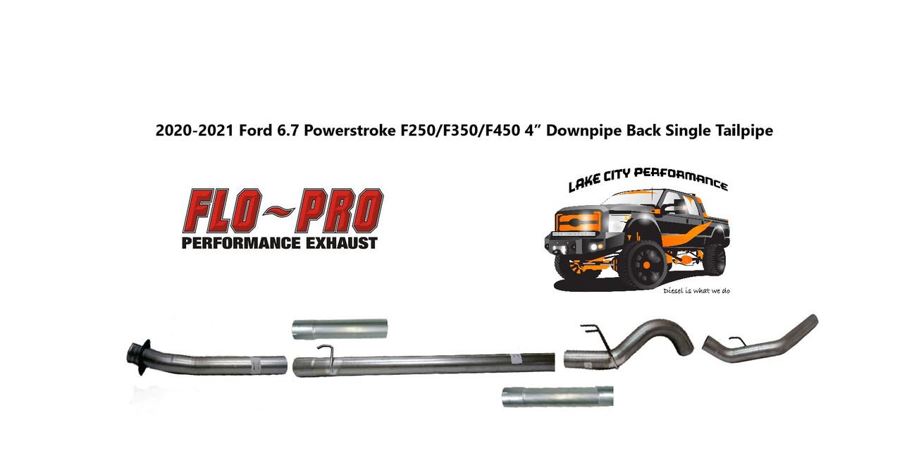 """2020-2021 , 6.7L, F250/F350/F450/F550, FLO-PRO 4"""" Aluminized Downpipe Back Exhaust System No Muffler"""