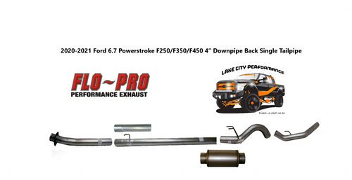 """2020-2021 , 6.7L, F250/F350/F450/F550, FLO-PRO 4"""" Aluminized Downpipe Back Exhaust System With Muffler"""
