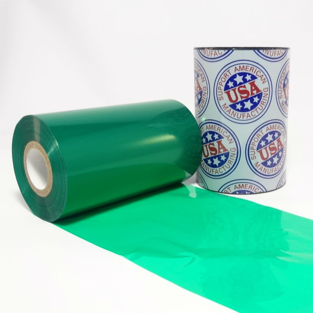 """Resin Ribbon: 2.52"""" x 984' (64.0mm x 300m), Ink on Outside, Green"""