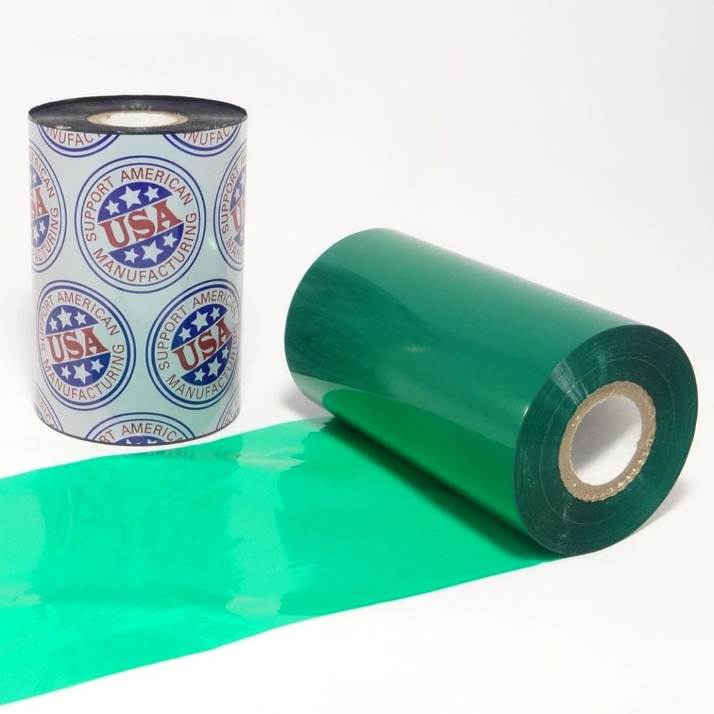 "Resin Ribbon: 2.52"" x 984' (64.0mm x 300m), Ink on Outside, Green"