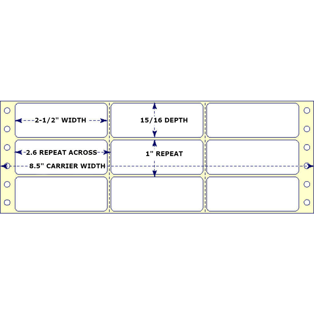 "2-1/2"" x 15/16"", 3 Across, Fanfold Labels for Pin Fed, Tractor Fed and Continuous Form (Feed) Printers"