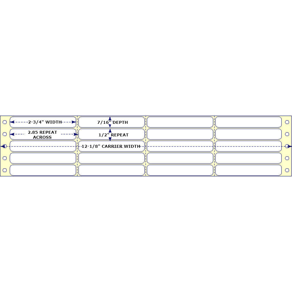 """2-3/4"""" x 7/16"""", 4 Across, Fanfold Labels for Pin Fed, Tractor Fed and Continuous Form (Feed) Printers"""