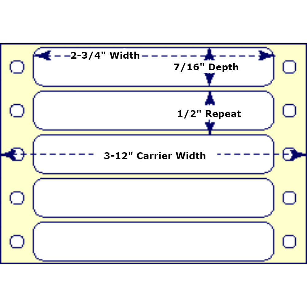 """2-3/4"""" x 7/16"""", 1 Across, Fanfold Labels for Pin Fed, Tractor Fed and Continuous Form (Feed) Printers"""