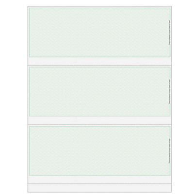 """Green Herringbone, 23 Security Features, Perforations: 3 ½"""", 7"""", & 10 ½"""" From The Top of Check"""