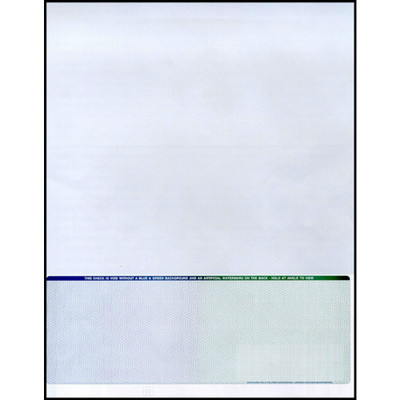 """Check on Bottom, Single Perforation: 7 1/2"""" from Top, Blue to Green, 13 Security Features"""