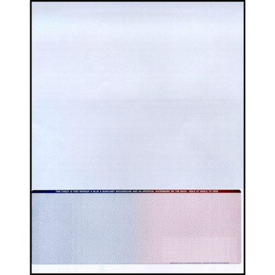 """Check on Bottom, Single Perforation: 7 1/2"""" from Top, Blue to Burgundy, 13 Security Features"""