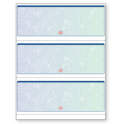 """Checks, 3 per Sheet, Perfs:  3 ½"""", 7"""", & 10 ½"""" From Top, Blue to Green, 11 Security Features"""