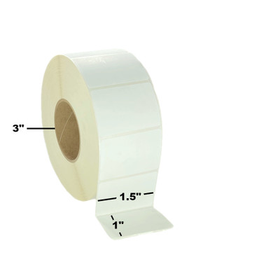 """1.5"""" x 1"""", Thermal Transfer,  Perforated, Roll, 3"""" Core, Coated, $6.23 per Roll in 8 Roll Case"""