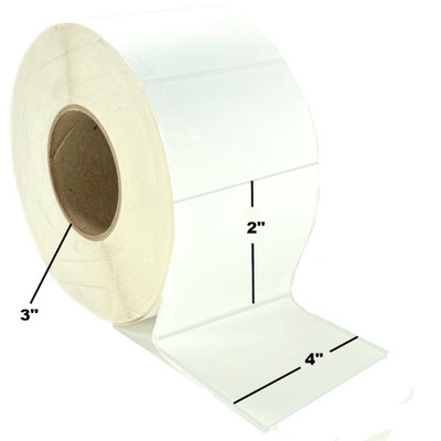 "4"" x 2"", Direct Thermal, Perforated, Roll, 3"" Core, Uncoated, $23.60 per Roll in 4 Roll Case"