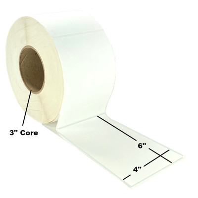 """4"""" x 6"""", Direct Thermal, Perforated, Roll, 3"""" Core, Uncoated, $19.95 per Roll in 4 Roll Case"""