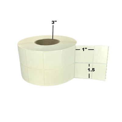 """1.5"""" x 1"""", Thermal Transfer,  Perforated, Roll, 3"""" Core, Coated, 2-Up, $14.08 per Roll in 4 Roll Case"""