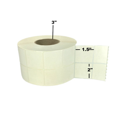 """2"""" x 1.5"""", Thermal Transfer, Perforated, Roll, 3"""" Core, Coated, 2-Up, $19.60 per Roll in 4 Roll Case"""