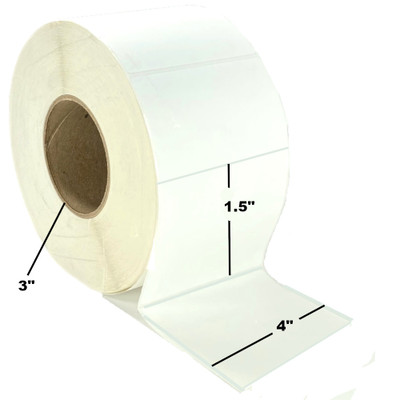 "4"" x 1.5"", Thermal Transfer, Perforated, Roll, 3"" Core, Coated, $16.29 per Roll in 4 Roll Case"