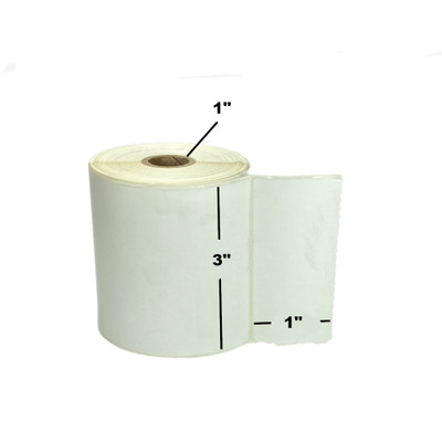"""3"""" x 1"""", Direct Thermal, Perforated, Roll, 1"""" Core, Uncoated, 4"""" Outside Diameter, $6.46 per Roll in 16 Roll Case"""