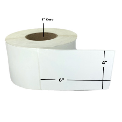 """4"""" x 6"""", Direct Thermal, Perforated, Roll, 1"""" Core, Uncoated, 5"""" Outside Diameter, $11.84 per Roll in 8 Roll Case"""