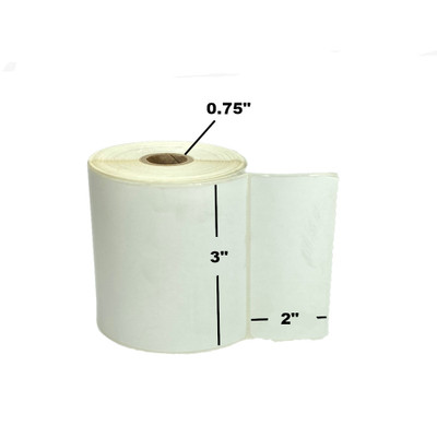"""3"""" x 2"""", Direct Thermal, Perforated, Roll, 3/4"""" Core, Uncoated, $6.15 per Roll in 36 Roll Case"""