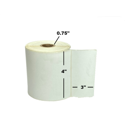 """4"""" x 3"""", Direct Thermal, Perforated, Roll, 3/4"""" Core, Uncoated, $6.04 per Roll in 36 Roll Case"""
