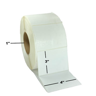 """4"""" x 3"""", Direct Thermal, Perforated, Roll, 1"""" Core, Uncoated, 4"""" Outside Diameter, Freezer Grade, $6.80 per Roll in 12 Roll Case"""