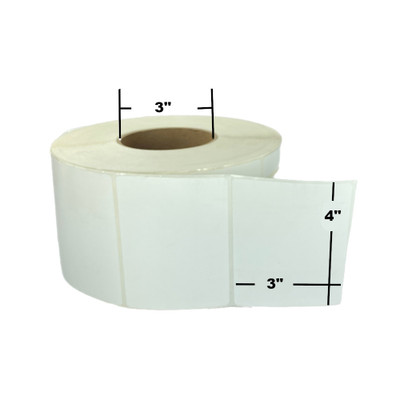 """4"""" x 3"""", Direct Thermal, Perforated, Roll, 3"""" Core, Uncoated, Freezer Grade, $21.38 per Roll in 4 Roll Case"""