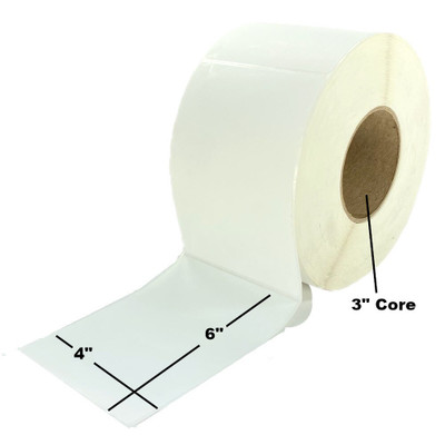 "4"" x 6"", Direct Thermal, Perforated, Roll, 3"" Core, Coated, $19.47 per Roll in 4 Roll Case"