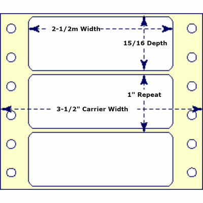 """2-1/2"""" x 15/16"""", 1 Across, Fanfold Labels for Pin Fed, Tractor Fed and Continuous Form (Feed) Printers"""