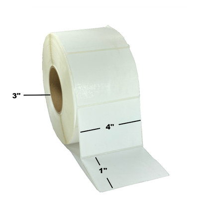"4"" x 1"", Thermal Transfer, Perforated, Roll, 3"" Core, Coated, $15.69 per Roll in 4 Roll Case"