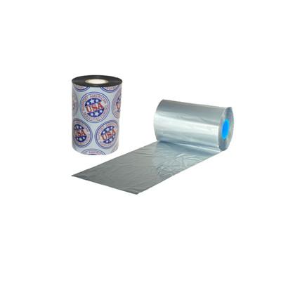 "Wax Resin Ribbon: 2.17"" x 3,280' (55.0mm x 1000m), Ink on Outside, Silver, Near Edge, $35.33 per Roll in 12 Roll Case"