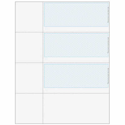 """Checks, 3 per Sheet, 3 Perforations: 2 ¾"""", 5 ½"""" and 8 ¼"""" From Top of Check, Blue, 5 Security Features"""