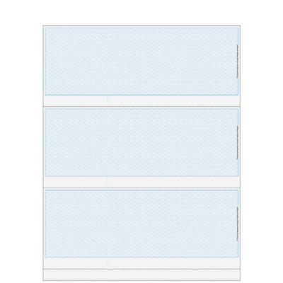 "Checks, 3 per Sheet, Perfs:  3 ½"", 7"", & 10 ½"" From Top, Blue Herringbone, 5 Security Features"