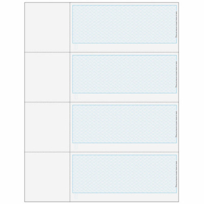 """Checks, 4 per Sheet, 3 Perforations: 2 ¾"""", 5 ½"""" and 8 ¼"""" From Top of Check, Blue, 5 Security Features"""