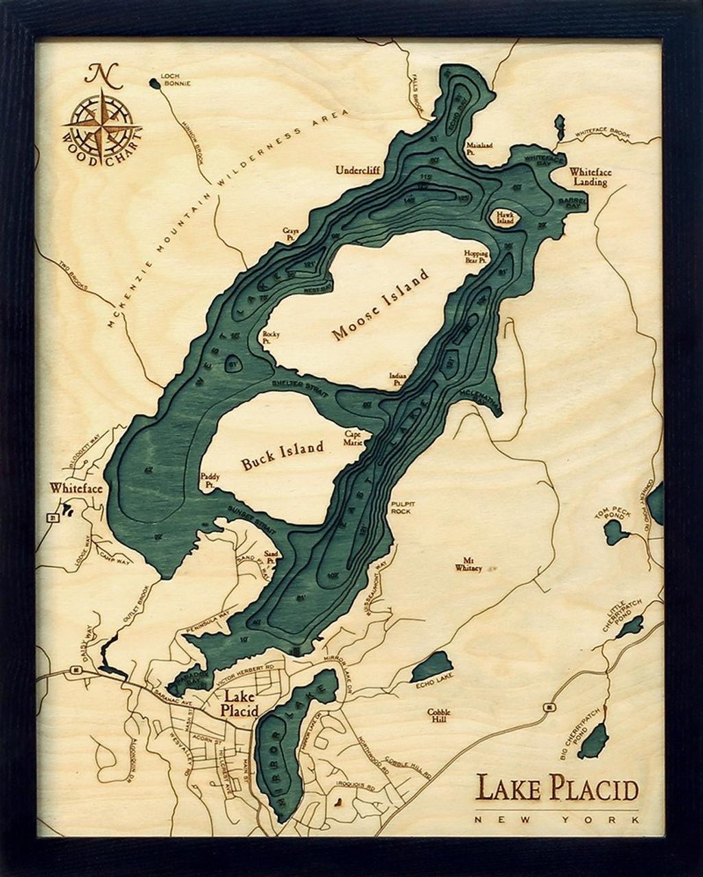 Lake Placid New York Map.Lake Placid Ny Wood Chart Map