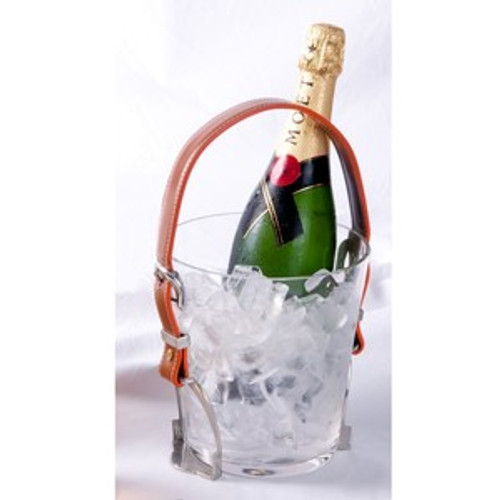 Glass Ice Bucket - Leather and Pewter Stirrups