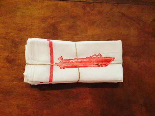 Vintage Red Boat Napkin/Kitchen Towel - Set of 4