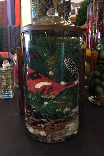 Lifetime Candle - Small Cylinder Winter Cardinal