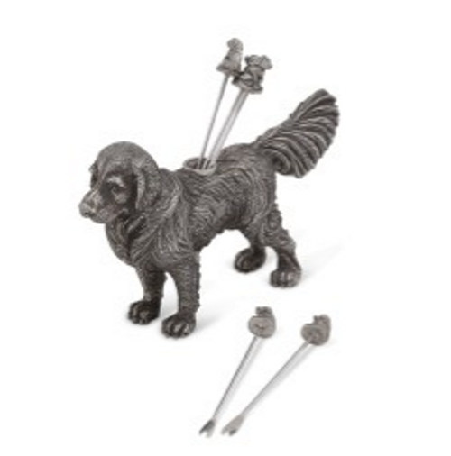 Pewter Retriever Cheese Picks - Detail