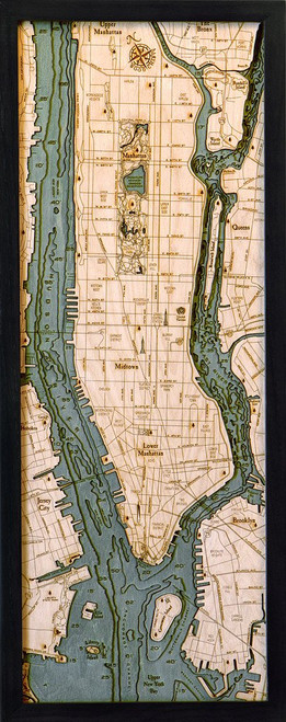 Manhattan, NY - Wood Chart - Framed Art