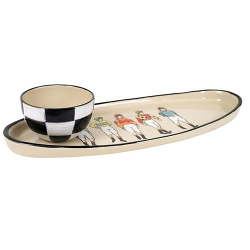 """Off to the Races 20"""" Antipasto Tray with Bowl"""